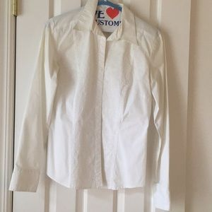 Rose embroidered white button down